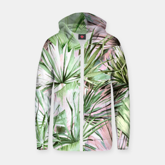 Nice watercolor tropical Sudadera con capucha y cremallera  miniature