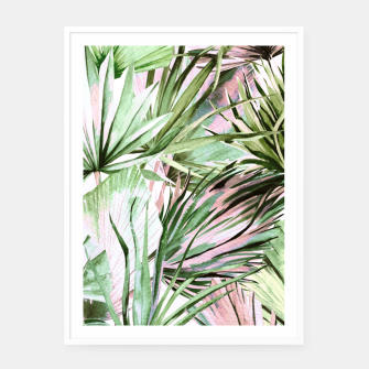 Nice watercolor tropical Cartel con marco miniature