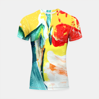 Thumbnail image of Color Collage Shortsleeve rashguard, Live Heroes
