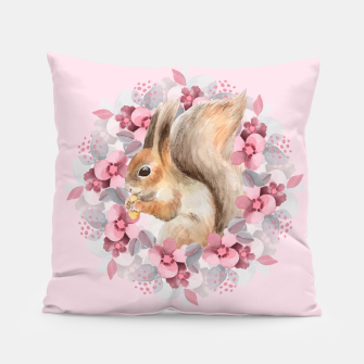 Miniatur Squirrel and flowers Pillow, Live Heroes