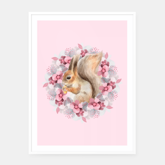 Miniatur Squirrel and flowers Framed poster, Live Heroes