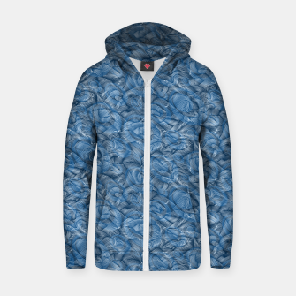 Slippery Fishes Floating in the Classic Blue Waves Zip up hoodie Bild der Miniatur
