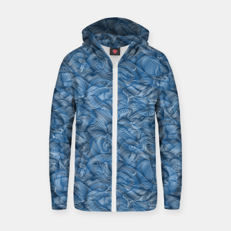 Thumbnail image of Slippery Fishes Floating in the Classic Blue Waves Zip up hoodie, Live Heroes