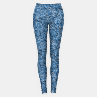 Slippery Fishes Floating in the Classic Blue Waves Leggings Bild der Miniatur