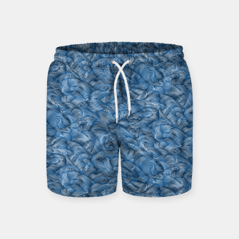 Miniatur Slippery Fishes Floating in the Classic Blue Waves Swim Shorts, Live Heroes