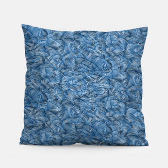 Slippery Fishes Floating in the Classic Blue Waves Pillow Bild der Miniatur