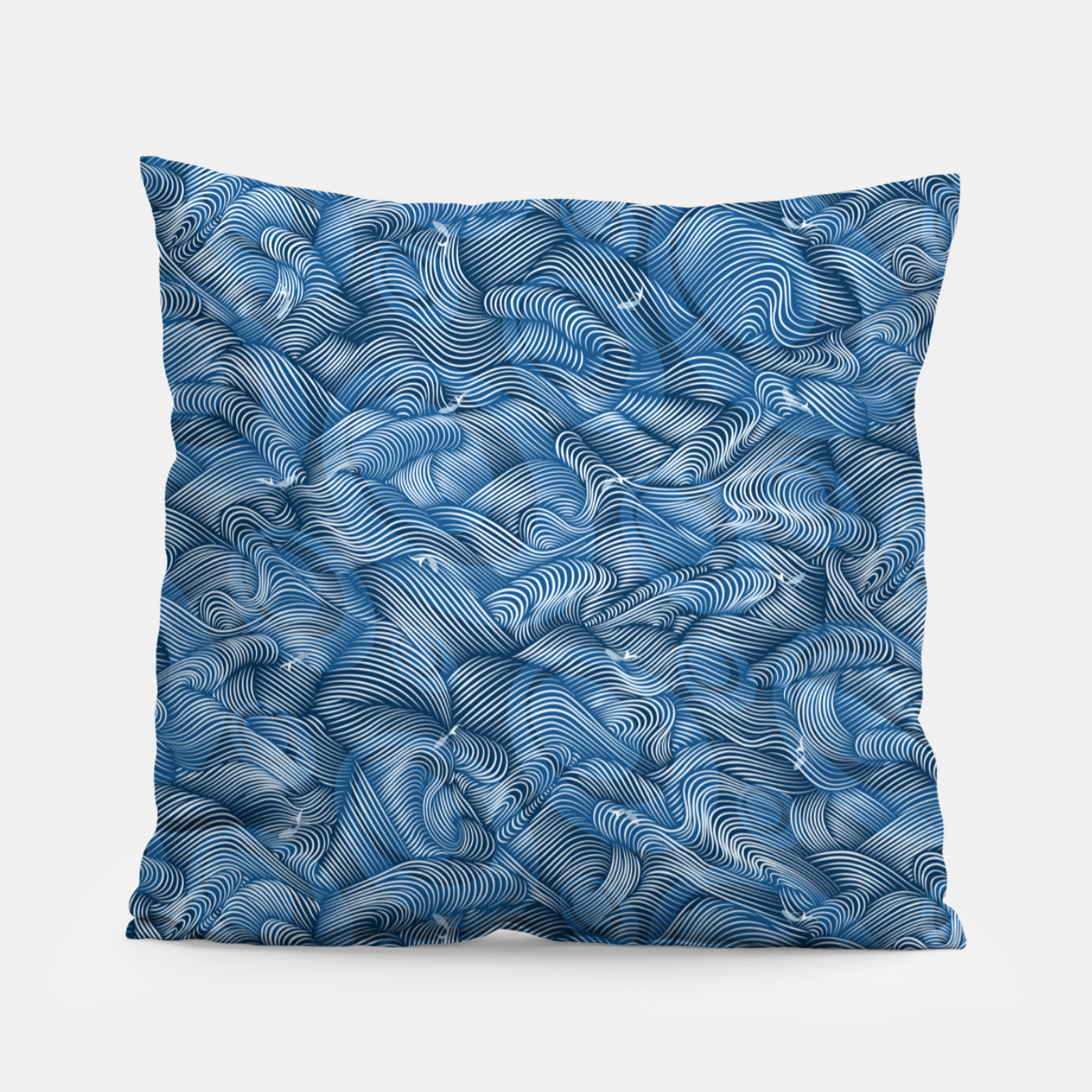Foto Slippery Fishes Floating in the Classic Blue Waves Pillow - Live Heroes