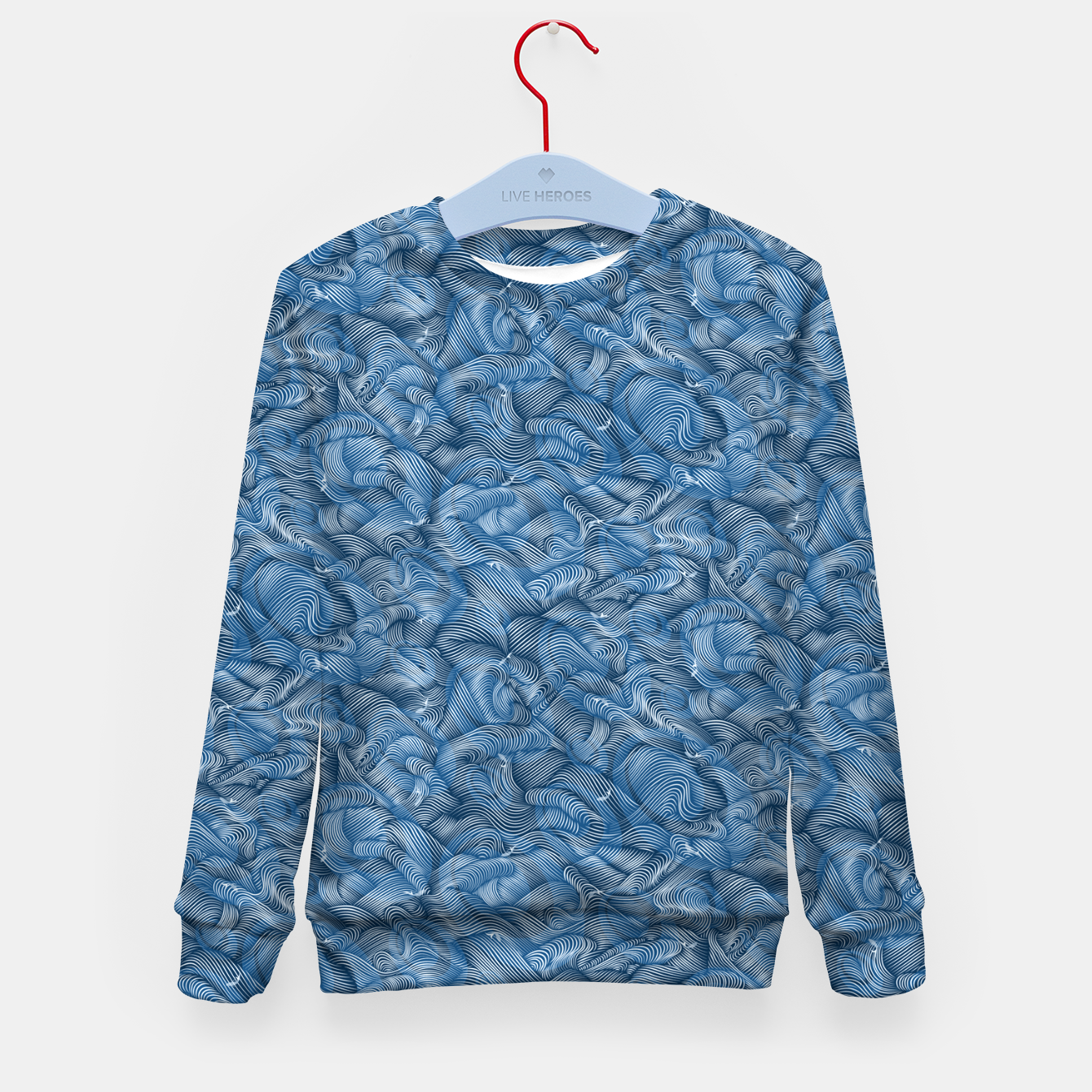 Foto Slippery Fishes Floating in the Classic Blue Waves Kid's sweater - Live Heroes