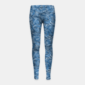Slippery Fishes Floating in the Classic Blue Waves Girl's leggings Bild der Miniatur