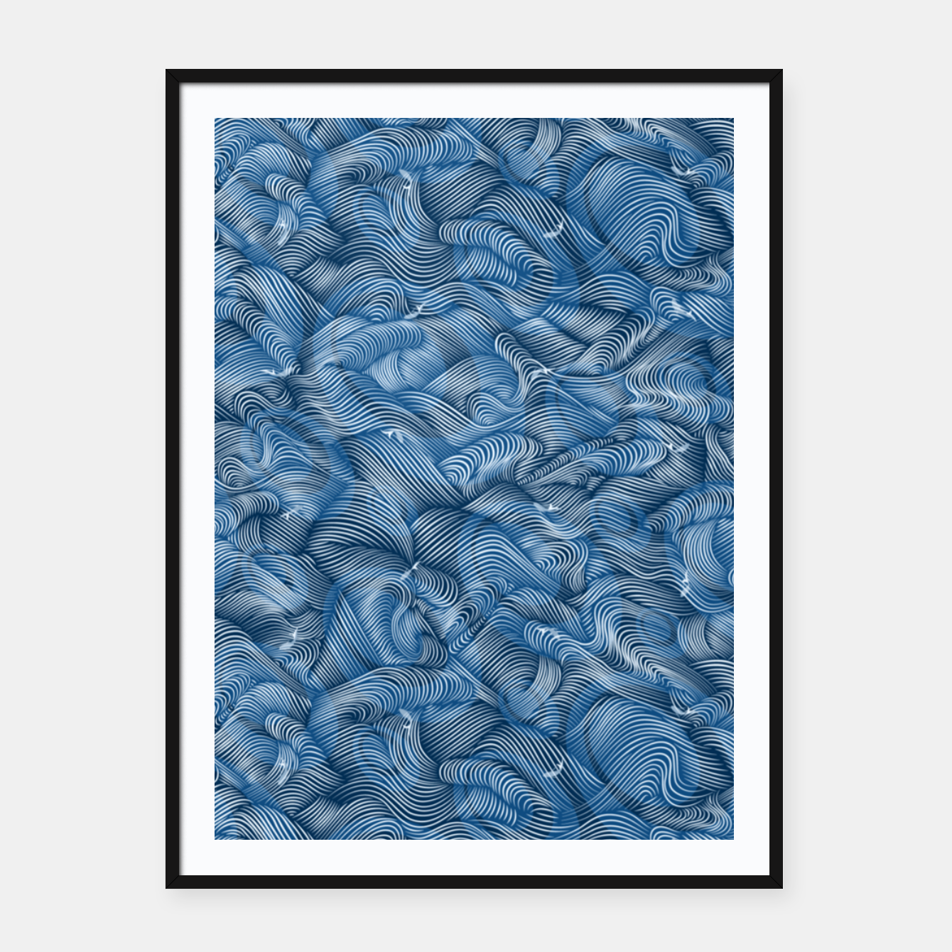 Foto Slippery Fishes Floating in the Classic Blue Waves Framed poster - Live Heroes
