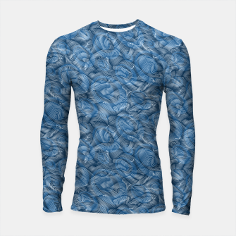 Miniatur Slippery Fishes Floating in the Classic Blue Waves Longsleeve rashguard , Live Heroes