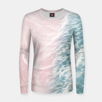 Thumbnail image of Soft Teal Blush Ocean Dream Waves #1 #water #decor #art Frauen sweatshirt, Live Heroes