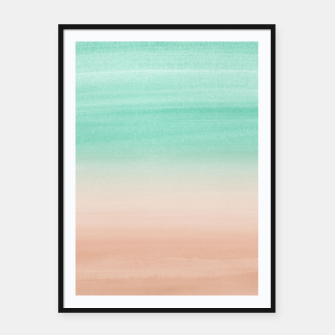 Thumbnail image of Touching Soft Emerald Beige Watercolor Abstract #1 #painting #decor #art Plakat mit rahmen, Live Heroes