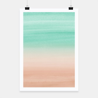 Thumbnail image of Touching Soft Emerald Beige Watercolor Abstract #1 #painting #decor #art Plakat, Live Heroes