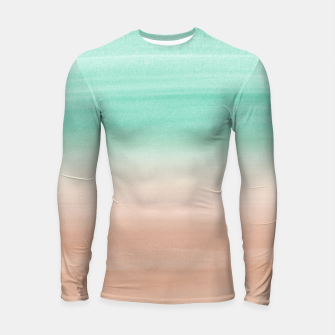 Thumbnail image of Touching Soft Emerald Beige Watercolor Abstract #1 #painting #decor #art Longsleeve rashguard, Live Heroes