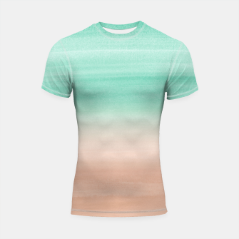 Thumbnail image of Touching Soft Emerald Beige Watercolor Abstract #1 #painting #decor #art Shortsleeve rashguard, Live Heroes