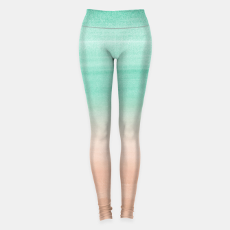 Thumbnail image of Touching Soft Emerald Beige Watercolor Abstract #1 #painting #decor #art Leggings, Live Heroes