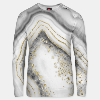 Miniature de image de White Agate Gold Foil Glam #1 #gem #decor #art Unisex sweatshirt, Live Heroes
