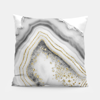 Miniature de image de White Agate Gold Foil Glam #1 #gem #decor #art Kissen, Live Heroes
