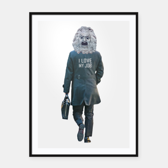 Thumbnail image of Funny Ironic Work Concept Artwork Framed poster, Live Heroes