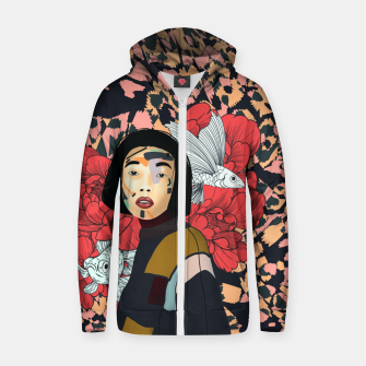 Asian abstract woman Sudadera con capucha y cremallera  Bild der Miniatur