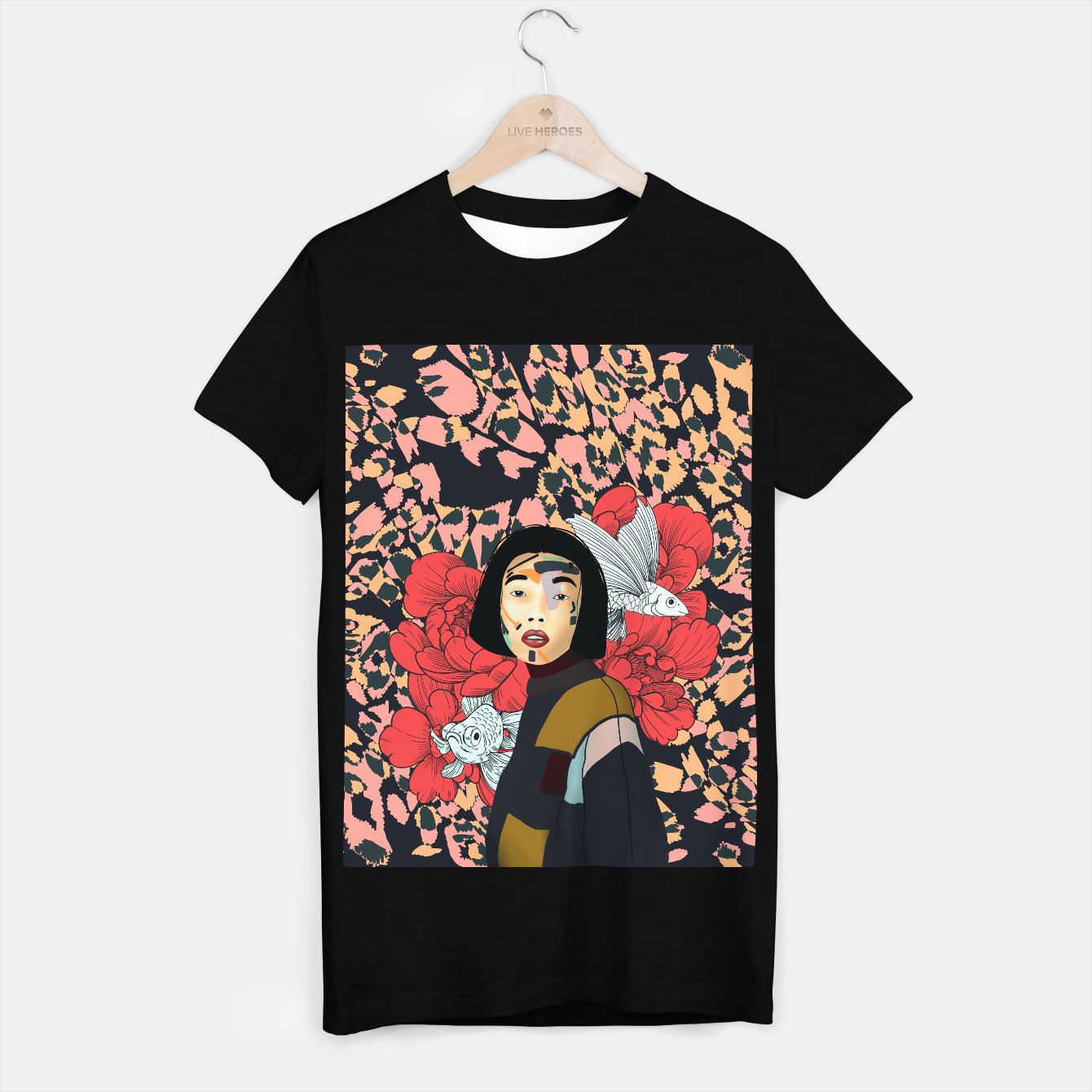 Image de Asian abstract woman Camiseta Regular - Live Heroes