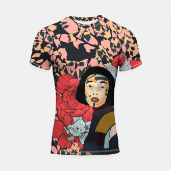 Thumbnail image of Asian abstract woman Shortsleeve rashguard, Live Heroes