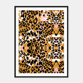 Abstract leopard pink 56 Cartel con marco Bild der Miniatur