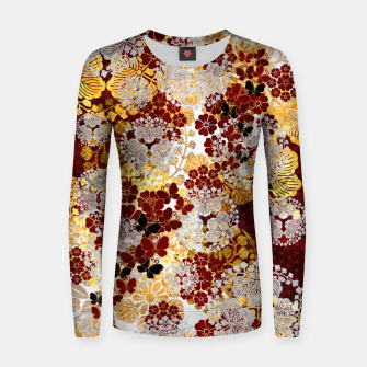Miniatur Japanese traditional family crest art. flower and butterfly Women sweater, Live Heroes