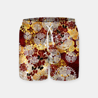 Miniatur Japanese traditional family crest art. flower and butterfly Swim Shorts, Live Heroes