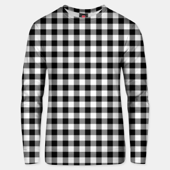 Miniatur Classic Black and White Western Cowboy Buffalo Check Gingham Unisex sweater, Live Heroes
