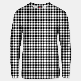 Mini Black and White Western Cowboy Buffalo Check Gingham Unisex sweater imagen en miniatura