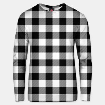 Large Size Black and White Western Cowboy Buffalo Check Gingham Unisex sweater imagen en miniatura