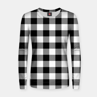 Miniatur Large Size Black and White Western Cowboy Buffalo Check Gingham Women sweater, Live Heroes