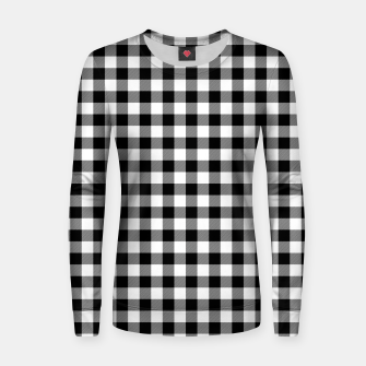 Miniatur Classic Black and White Western Cowboy Buffalo Check Gingham Women sweater, Live Heroes