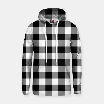 Large Size Black and White Western Cowboy Buffalo Check Gingham Hoodie imagen en miniatura