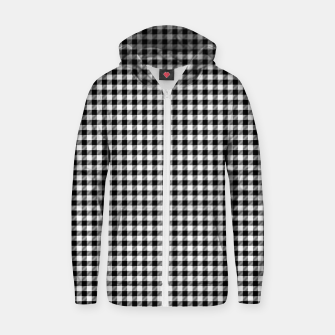Mini Black and White Western Cowboy Buffalo Check Gingham Zip up hoodie imagen en miniatura