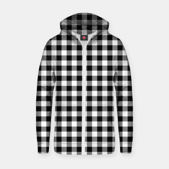 Miniatur Classic Black and White Western Cowboy Buffalo Check Gingham Zip up hoodie, Live Heroes