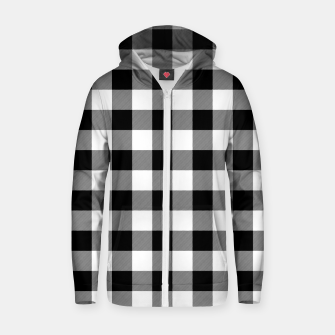 Large Size Black and White Western Cowboy Buffalo Check Gingham Zip up hoodie imagen en miniatura