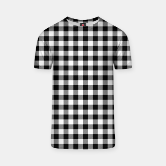 Miniatur Classic Black and White Western Cowboy Buffalo Check Gingham T-shirt, Live Heroes