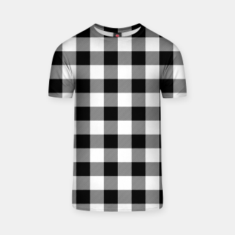 Large Size Black and White Western Cowboy Buffalo Check Gingham T-shirt imagen en miniatura