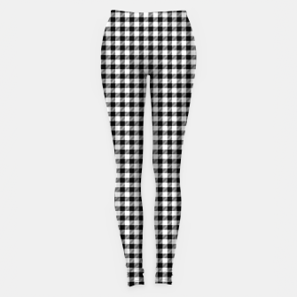 Mini Black and White Western Cowboy Buffalo Check Gingham Leggings imagen en miniatura