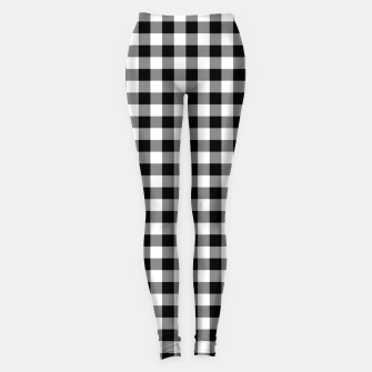 Miniatur Classic Black and White Western Cowboy Buffalo Check Gingham Leggings, Live Heroes