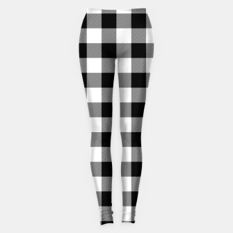 Large Size Black and White Western Cowboy Buffalo Check Gingham Leggings imagen en miniatura