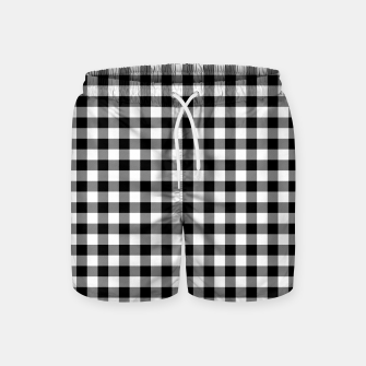 Miniaturka Classic Black and White Western Cowboy Buffalo Check Gingham Swim Shorts, Live Heroes