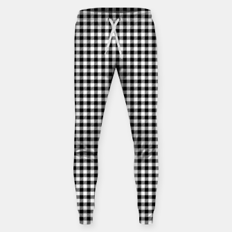 Miniatur Mini Black and White Western Cowboy Buffalo Check Gingham Sweatpants, Live Heroes