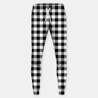Miniatur Classic Black and White Western Cowboy Buffalo Check Gingham Sweatpants, Live Heroes