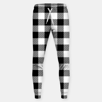 Large Size Black and White Western Cowboy Buffalo Check Gingham Sweatpants imagen en miniatura