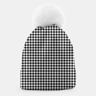 Mini Black and White Western Cowboy Buffalo Check Gingham Beanie imagen en miniatura