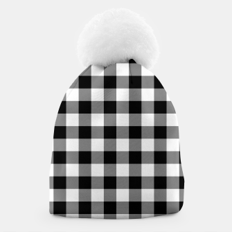 Large Size Black and White Western Cowboy Buffalo Check Gingham Beanie imagen en miniatura